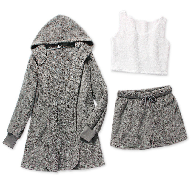 Three Piece Sexy Fluffy Outfits Plush Velvet Hooded Cardigan Coat+Shorts+Crop Top Women Tracksuit Sets Casual Sports Sweatshirt 5