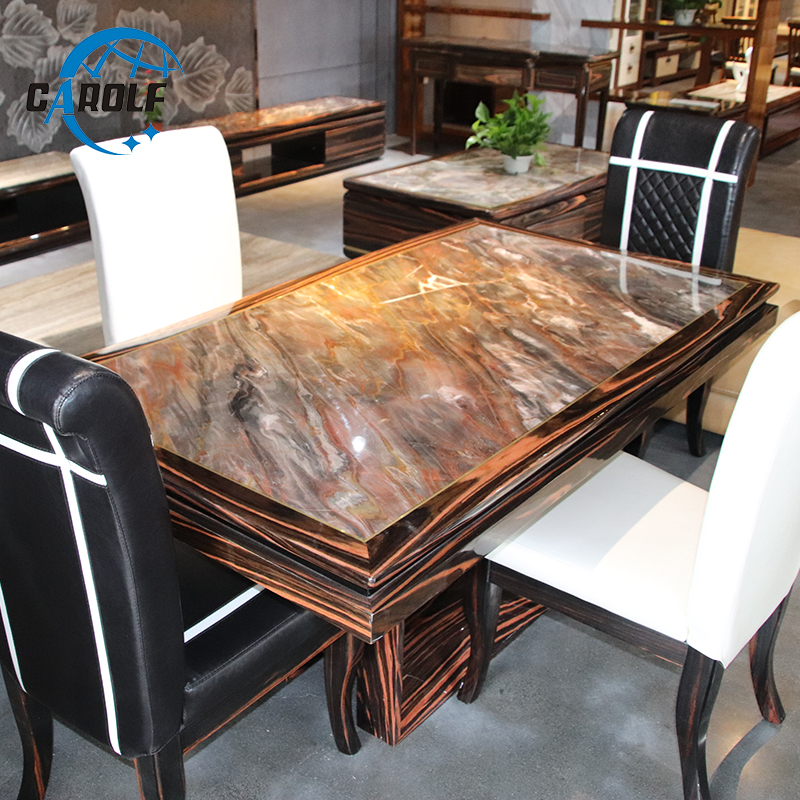Top Furniture Modern 4 6 8 Seats Marble Top Solid Wood Dining Table Best Selling In Malaysia