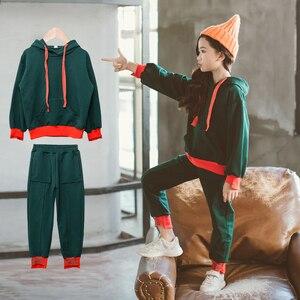 Image 4 - 幼児の女の子の服春子供服綿長袖パーカースウェット + パンツファッション十代の少女服 12Y