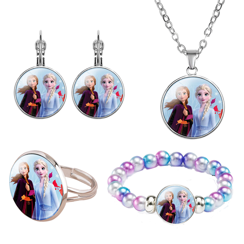 4pcs/lot Birthday Gift Alloy Glass Child Girl Ring Necklace Bracelet Earring Party Gift Gift Jewelry