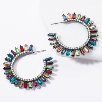 KMVEXO Colorful Crystal Drop Earrings Women Round Geometric Pendant Dangle Earrings Indian Bridal Statement Jewelry Party Bijoux 23