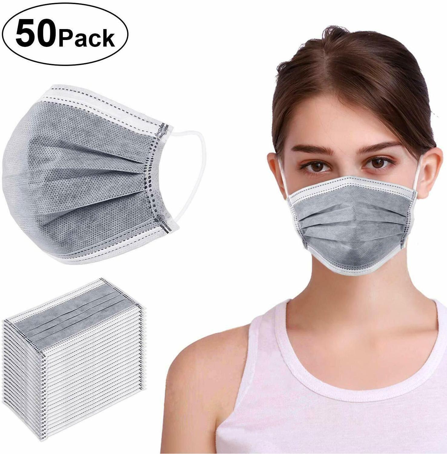 50pcs Disposable Earloop Medical Surgical 3 Layer Activated Carbon Filter Mascarillas маска マスクMasque Direct Absorb Methanal