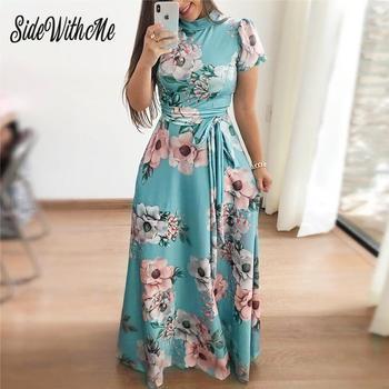 Women Long Maxi Dress Summer Floral Print Bohemian Beach Dress Casual Short Sleeve Bandage Party Dress Plus Size Vestidos 1
