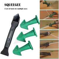 3pcs Caulk Nozzle and 1pc Scraper Set Finishing Durable Floor Clean Eco-friendly Caulking Sealant Tool Rubber Trowel Nozzle