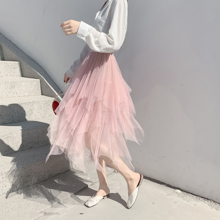 Tulle Skirts Womens Faldas Mujer Moda 19 Fashion Elastic High Waist Mesh Tutu Maxi Pleated Long Midi Saias Jupe Women's Skirt 14