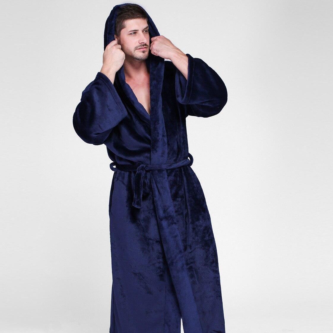 Hommes à capuche Extra Long thermique peignoir grande taille hiver flanelle épaississement chaud Kimono Robe de bain mâle Robe de chambre hommes Robes