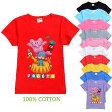2021 pocoyoe t camisa dos miúdos do verão topos crianças engraçado camisa de mangas curtas roupas das meninas dos desenhos animados camiseta kawaii meninos da criança camisetas