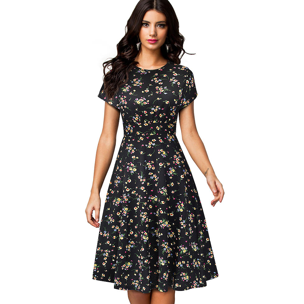 Women's Sleeveless Cocktail A-Line Embroidery Party Summer Wedding Guest Dress 3
