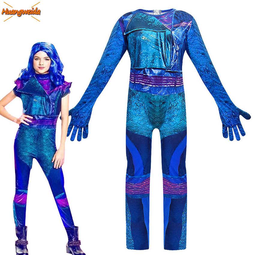 Audrey kostümleri çocuklar için cadılar bayramı kostümleri çocuk kostüm cadılar bayramı aşk canlı Mal Cosplay tulumlar kızlar Mermaid kuyruk Mal kızlar