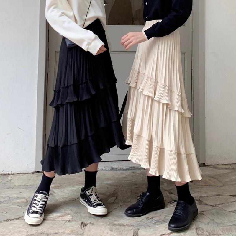 Black Beige Fashion Korean Ruffle Midi Long A-line Skirt Women Casual Spring Summer High Waist Irregular All-match Skirts Female