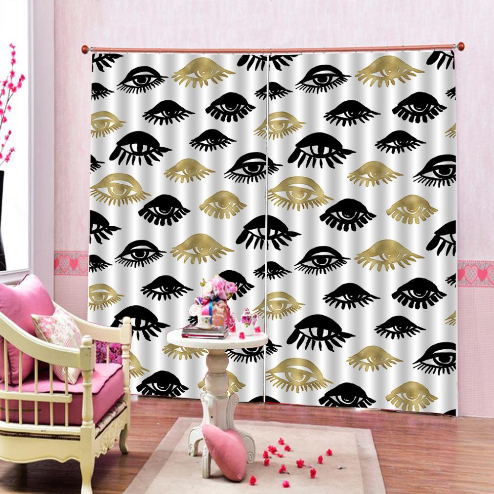 eyes curtains Luxury Blackout 3D Window Curtains For Living Room Bedroom Customized size personality curtains