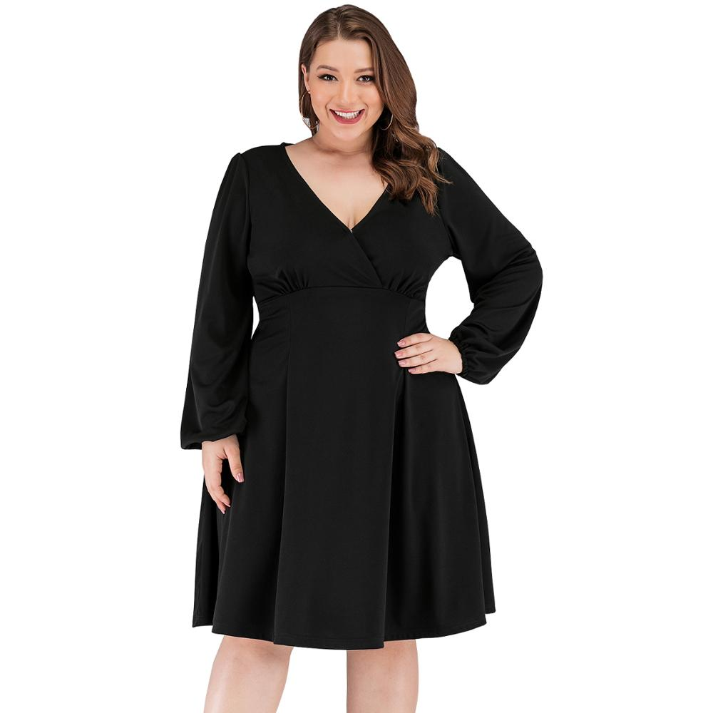Autumn Women Long Sleeve <font><b>Dress</b></font> 2019 Fall Winter Robe <font><b>Sexy</b></font> Vintage <font><b>Dress</b></font> Elegant Casual Tunic Black <font><b>Big</b></font> Plus <font><b>Size</b></font> Women <font><b>Dress</b></font> 5XL image