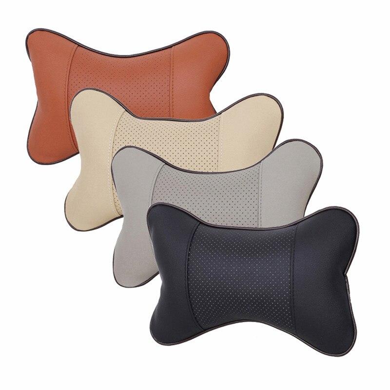 1pcs Universal Car Neck Pillows PVC Leather Breathable Mesh Auto Car Neck Rest Headrest Cushion Pillow Car Interior Accessories