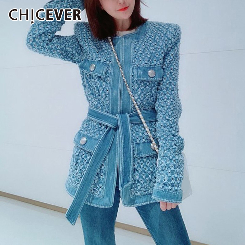 CHICEVER Vintage Blue Denim Jacket With Belt Waisted Ripped Hole Women Coat 2019 Autumn Long Sleeve Pockets Streetwear New