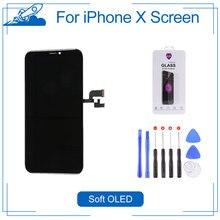 Elekworld sınıfı yumuşak OLED GX için iPhone X LCD ekran 3D dokunmatik ekran Digitizer meclisi yedek parçalar esnek OLED