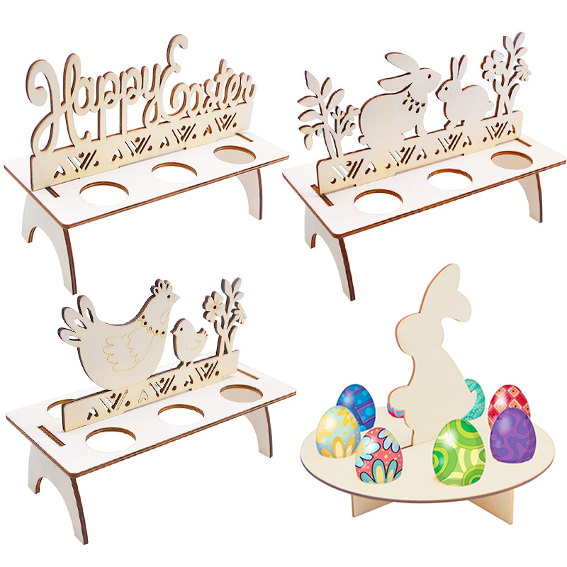 1Set Creative Easter Chocolate Eggs Stand Rabbit Chicken Bunny Egg Display Holder Happy Easter Decoration For Home Craft Gift