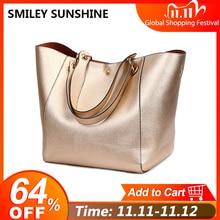 2020 Gold Women Genuine Leather Handbags High Quality Big Shoulder Bags Female Handbag Large Ladies Hand Bag Handbags Vintage
