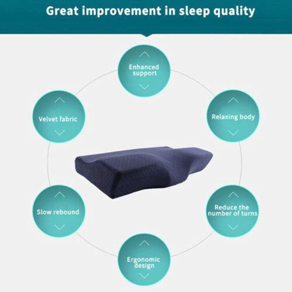 Memory Foam Bedding Pillow Shaped Ergonomic Cervical Pillow Sleeping Comfortable Neck Protection Butterfly Memory Foam Pillow 6