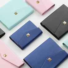 2021 New Product A5/A6 PU Business Notebook Wallet Style Tri-Folding Metal Buckle 6-Ring Loose-Leaf Creative Notebook Stationery