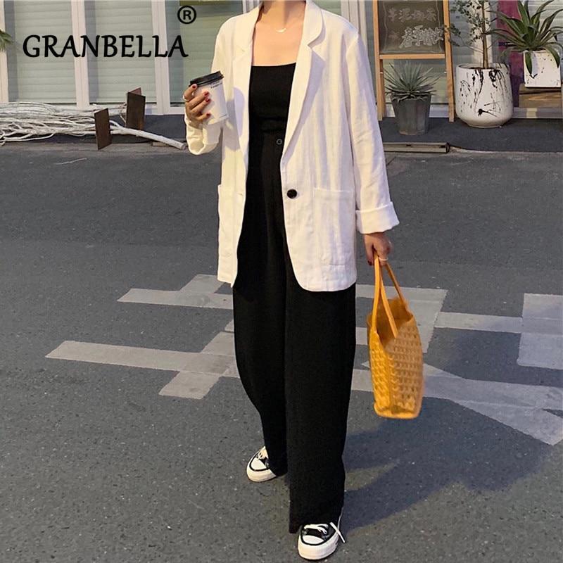 Korea Cotton Linen Blazer Solid Color Turn-down Collar Coat Chic Short Suit Female White Casual Cardigan