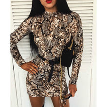 2020 Summer Fashion Women Sexy Snake Pattern Bodycon Long Sleeve Turtleneck Dress Ladies Casual Party Cocktail Club Mini Dress(China)