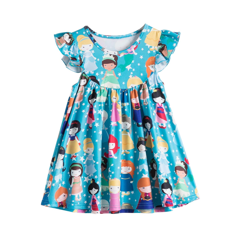 Baby Girls Princess Dress For Kids Summer Short Sleeve Unicorn Flower Printed Dresses Toddler Children Holiday Party Clothing 5