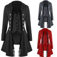 Victorian Women Steampunk Vintage Cosplay Costumes Elegant Party Lace Trench Jackets Slim Vests Coats Stage Gothic Retro Clothes