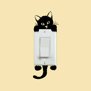 Wall-Stickers Cat-Light-Switch Phone Mural Art Home-Decoration Kitchen Kids Rooms PVC