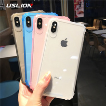 USLION Transparent Shockproof Case For iPhone XS Max X XR Soft Phone for iphone 6 6s 7 8 Plus TPU Silicone Back Cover