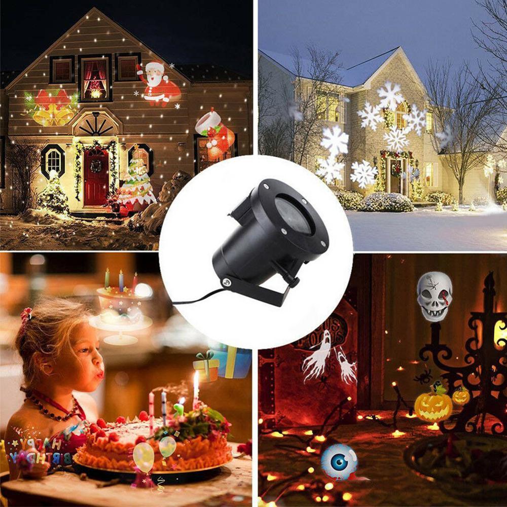 Горячая Распродажа, 16 узоров, рождественский снежинка, уличный светодиодный проектор, рождественские, для дома, вечерние, светодиодный