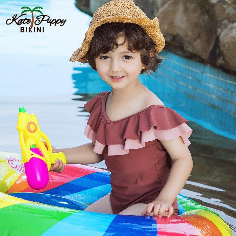 2019 nouveau enfant en bas âge infantile bébé filles solide maillot de bain une pièce à volants maillots de bain natation beauté retour été mignon enfant en bas âge gilet de bain