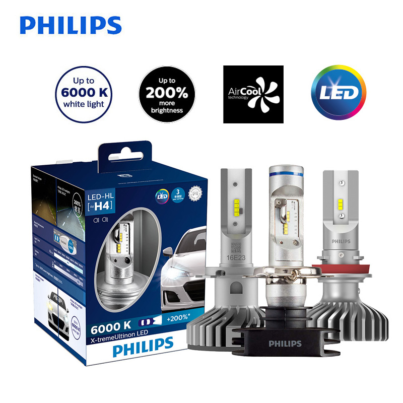 <font><b>Philips</b></font> X-treme Ultinon <font><b>LED</b></font> H4 <font><b>H7</b></font> H8 H11 H16 9005 9006 HB3 HB4 12V 6000K Car <font><b>LED</b></font> <font><b>Headlight</b></font> Auto Fog Lamps +200% Brighter,X2 image
