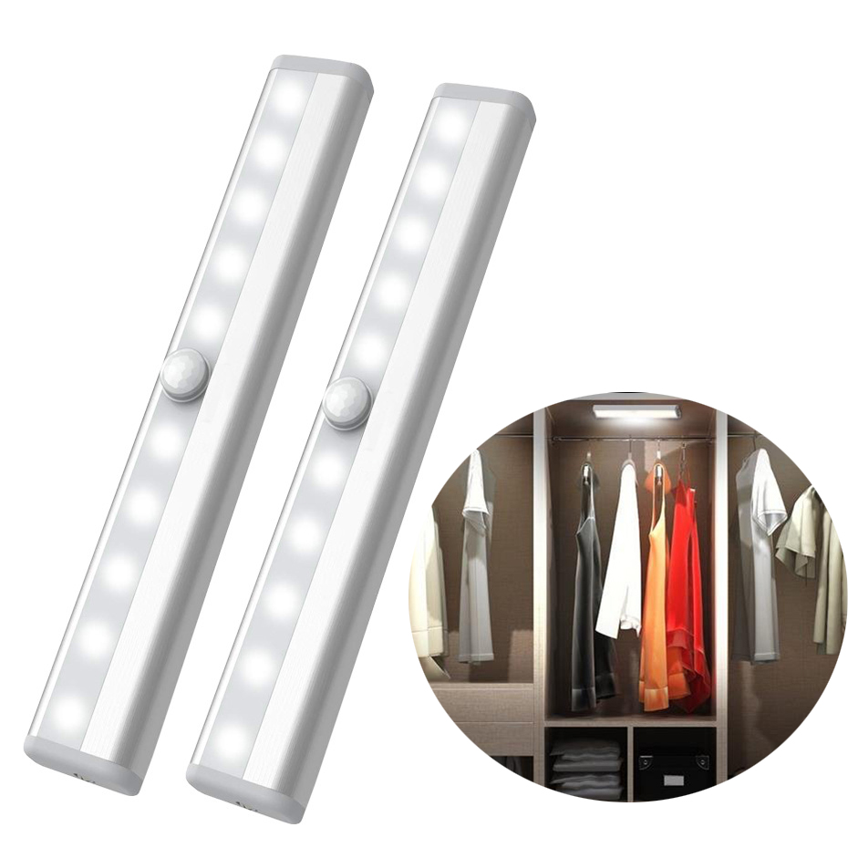 10LED Kitchen Cabinet LED Light Wardrobe Led Lights Motion Sensor Closet Lighting Rechargeable Battery Lamp Pir Cupboard Cabinet