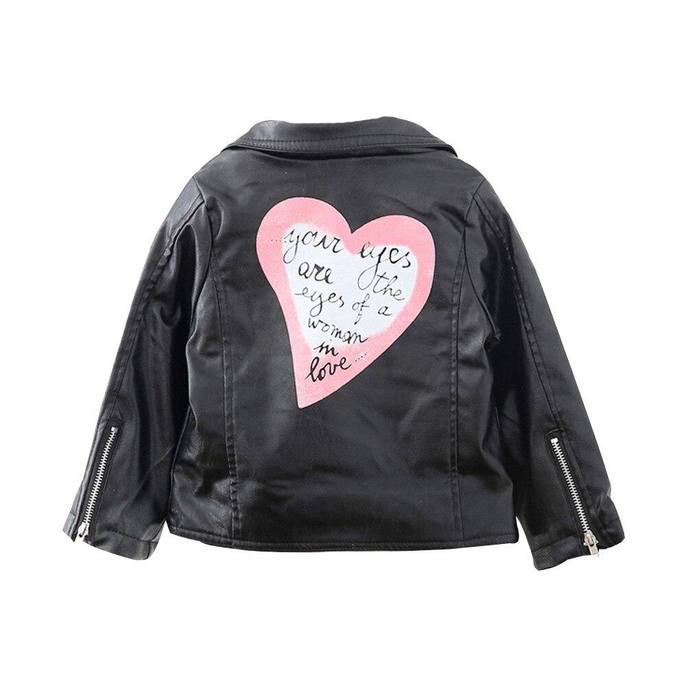 Jacket Girls Coat Motorcycle Autumn Winter Fashion Children Hot Love Heart Lapel PU 2-7-Year-Old