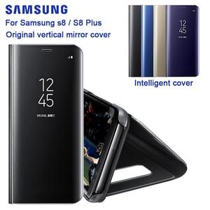 Image 2 - Samsung Originele Spiegel Clear View Cover Voor Samsung Galaxy S8 SM G9500 S8 + S8 Plus SM G9550 S View Flip case Met Kickstand