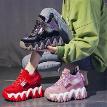2020 Winter Sneakers Women High Platform Lace-up Casual Shoes Keep Warm Fur Chunky Sneakers 10CM Wedge Heel Leather Shoes 34-39 winter fur sneakers platform woman 2018 autumn high top female casual shoes wedge side zipper fashion warm snow sneakers v671