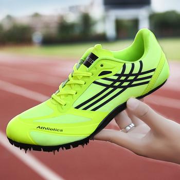 Buty do biegania kolce męskie buty do biegania dla dzieci buty do biegania Sprint Distance sportowe trampki buty do biegania i biegania chłopcy dziewczęta lekkoatletyka tanie i dobre opinie ifrich Syntetyczny Hard court Zaawansowane Oddychające Masaż Średnie (b m) RUBBER Bezpłatne elastyczne Lace-up Spring2019