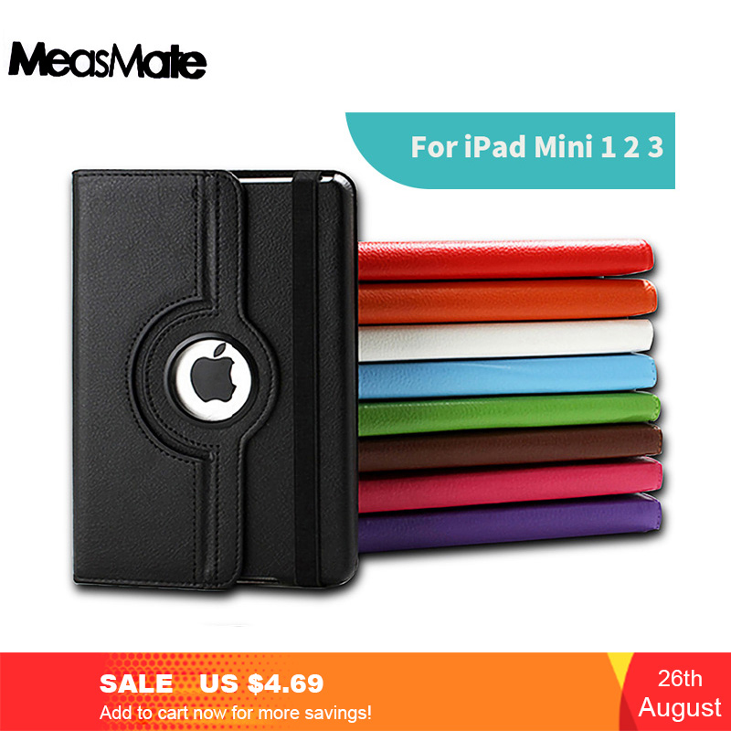 360 Degree Rotating Stand Case For IPad Mini 1 2 3 Case PU Leather Smart Flip Cover For