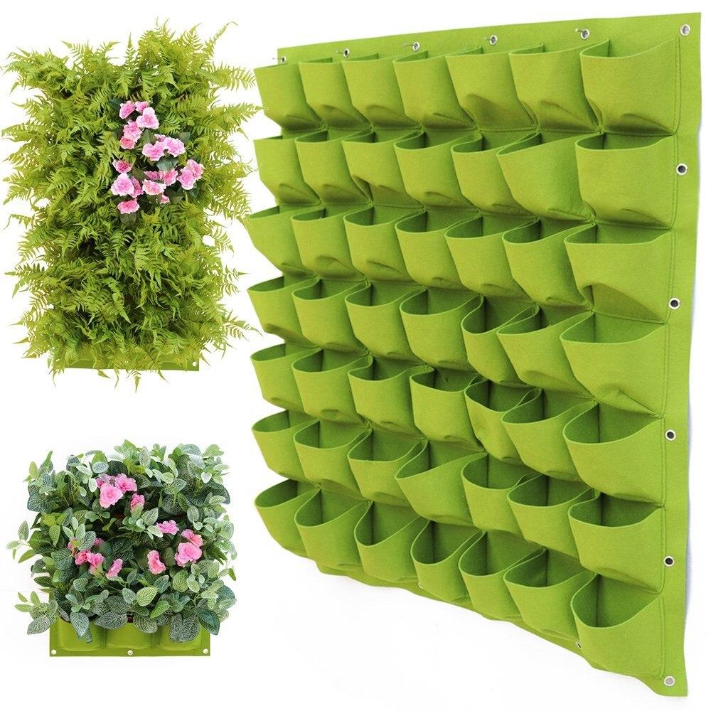 Wall Hanging Planting Bags 4/12/18/36/64Pockets Green Grow Bag Planter Vertical Garden Vegetable Living Garden Bag Home Supplies