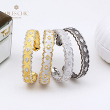 18K Gold Tone Creative Silky Stars Open Bangle 925 Silver Matt Traditional Garden Filigree Bracelets Renaissance Fine Jewelry