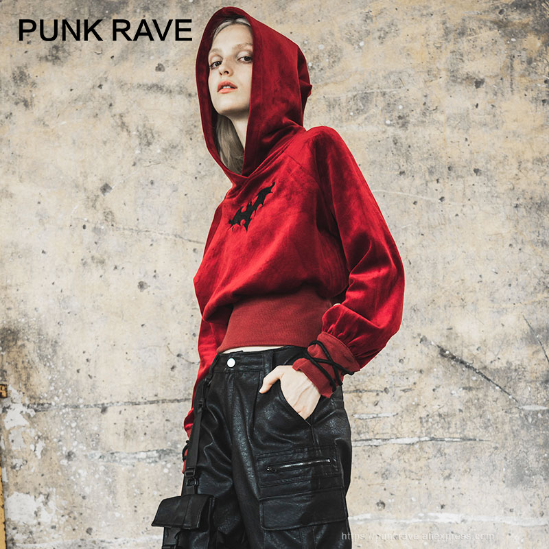 PUNK RAVE Girl's Bat Pattern Velvet Witch Long Sleeve Short Hoodies Women Sweatshirt Harajuku Hoodie Tops