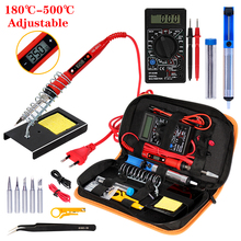 Soldering iron kit adjustable temperature 220V 80W LCD solder Ceramic heater soldering tips Desoldering Pump Welding Tool Kits 1pcs solder iron tips t12 series t12 ils dl52 i il j02 jl02 js02 soldering iron tips welding tip soldering welding stings
