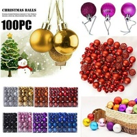 100pcs Christmas Ball Gift Box Multi color Christmas Ball Plastic Gift Ball For Xmas Tree Hanging Ornament Decoration Boxed
