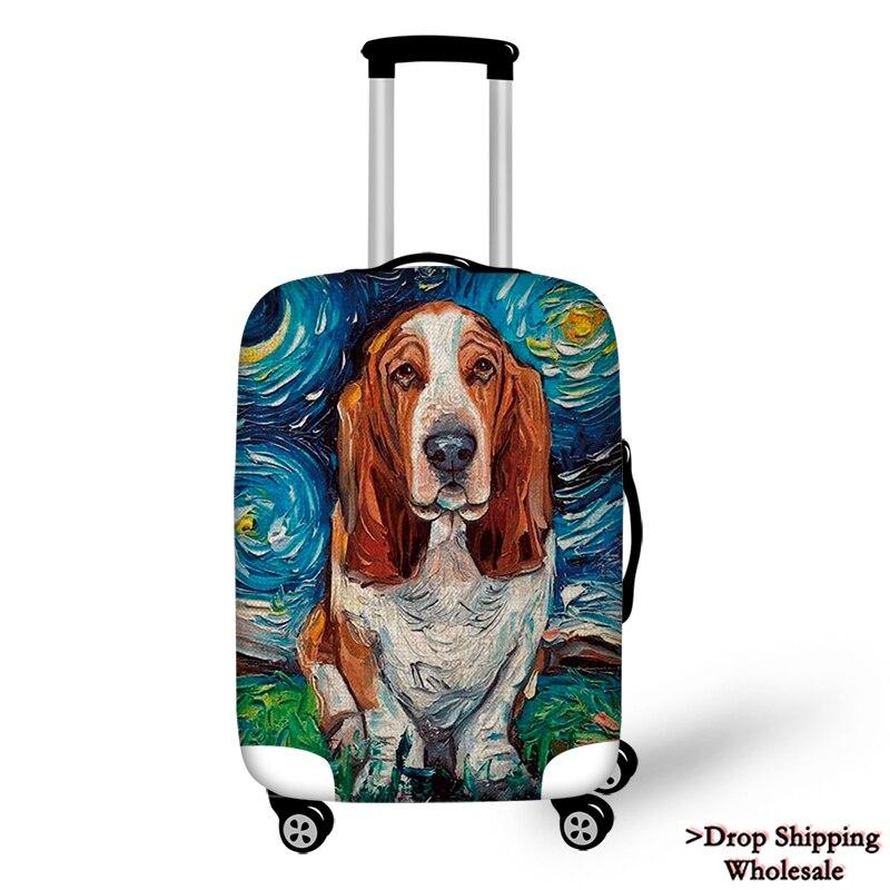 Travel Luggage Cover Case Bulldog Doberman Greyhound Dachshund Dog Animal Suitcase Protector Case Sofa Decorative Dropshipping