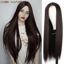 AISI שיער ארוך ישר פאות חום סינטטי פאות עבור נשים טבעי Handline התיכון חלק חום סיבים עמידים יומי פאה