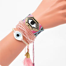 Go2boho Evil Eye Bracelet Pulseras Mujer 2019 Perles Pink MIYUKI Bohemian Summer Beach Tassel Jewelry Women Handmade