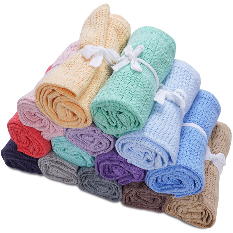 Fashionable 100%Cotton Baby Cellular Blankets Newborn Solid Color Swaddle Wrap Muslin Baby Stuff Bath Towel Stroller Accessories