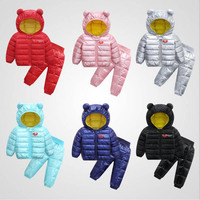 New Winter Baby Clothing Sets Children Hooded Jackets Coats +Thick Pants Kids Boys Girls Clothing Sets Infant Clothes