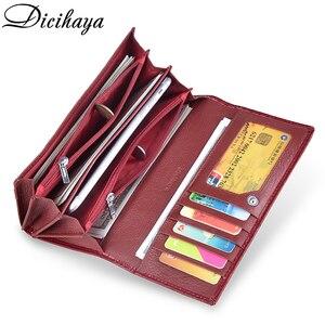 Image 4 - DICIHAYA ของแท้หนังกระเป๋าสตางค์ผู้หญิง Fallow ยาวคู่ซิปกระเป๋าสตางค์คลัทช์กระเป๋ากระเป๋าถือสีแดงจระเข้กระเป๋า