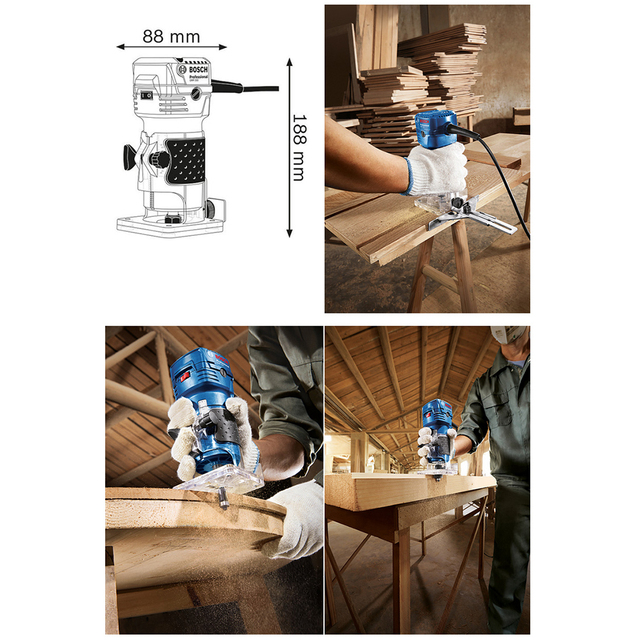 Bosch 550W Woodworking Electric Router trimmer 33000rpm Wood Milling Engraving Slotting Trimming machine Hand Carving Carpentry 5